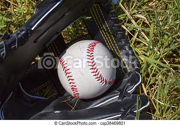 Baseball in glove over grass - csp38469801
