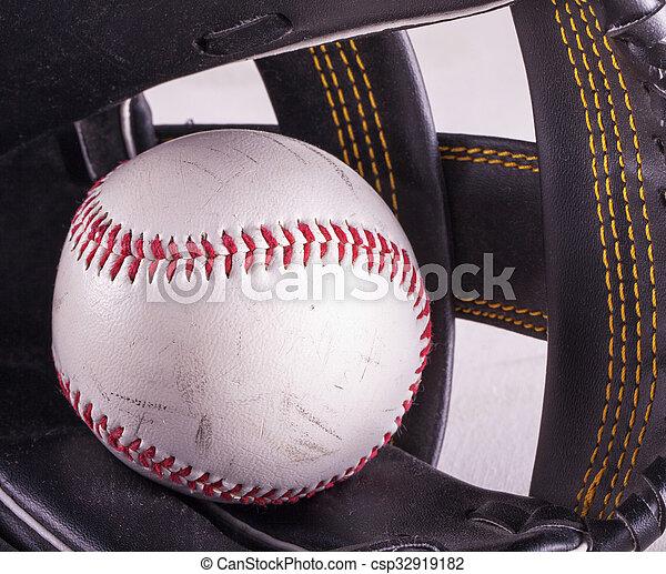 Baseball in glove - csp32919182