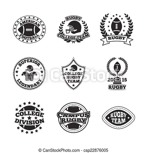3c0f5e59b Baseball labels icons set. Rugby campus college legendary team black ...