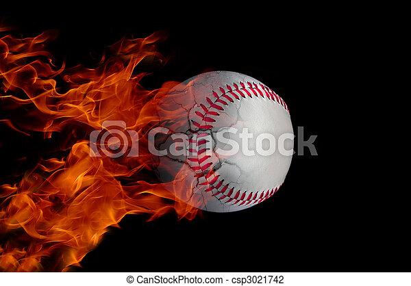 Baseball on fire - csp3021742