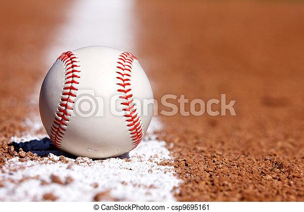 Baseball on the Chalk Line - csp9695161