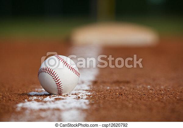 Baseball on the Infield Chalk Line - csp12620792