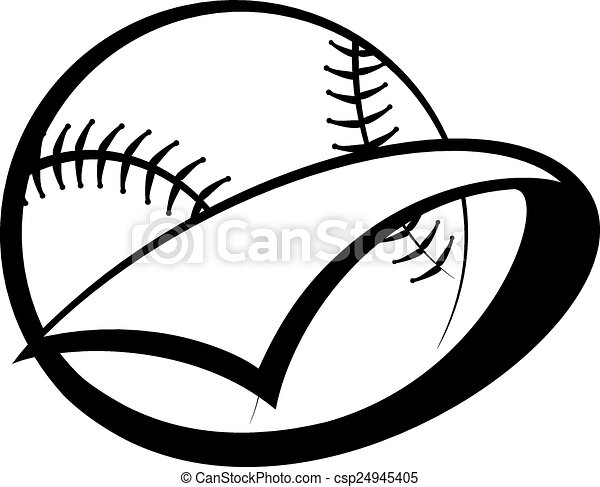 baseball or softball pennant stylized baseball or softball rh canstockphoto ca women's softball vector art softball vector free