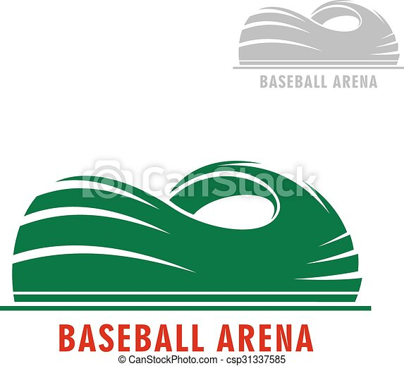 Baseball Or Softball Stadium Symbol Sport Arena Icon With Green