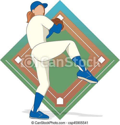 baseball pitcher female - csp45905541