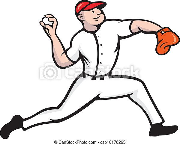 baseball pitcher player throwing cartoon illustration of a clip rh canstockphoto com baseball pitching clipart Black and White Baseball Pitcher
