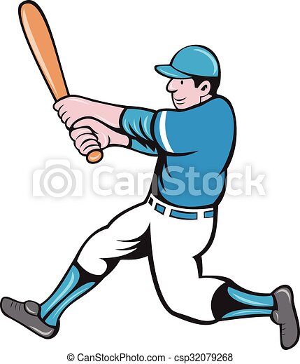baseball player batter swinging bat isolated cartoon clip art rh canstockphoto com