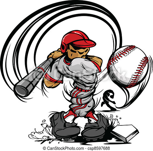Baseball Player Cartoon Swinging Ba - csp8597688