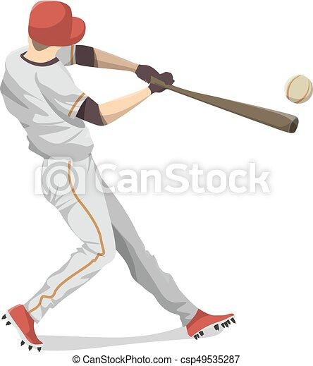 baseball, player., freigestellt - csp49535287