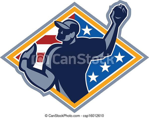 Baseball Player Pitcher Throw Ball Retro - csp16012610
