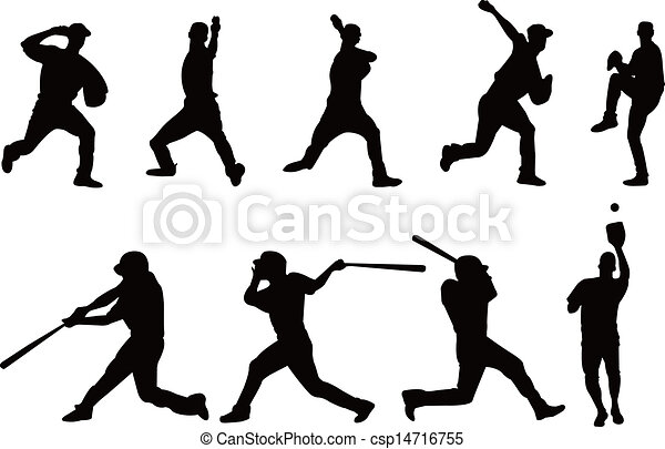 Baseball player silhouette - csp14716755