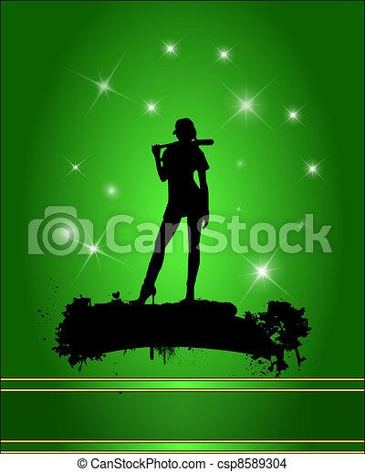 Baseball player silhouette - csp8589304