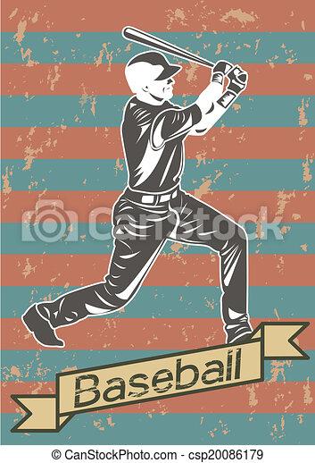 Baseball player silhouette icon  - csp20086179