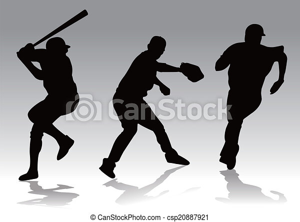 baseball player silhouette - csp20887921