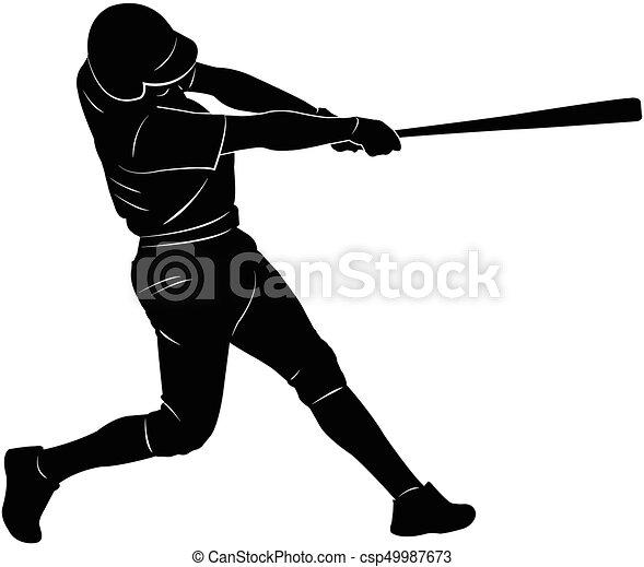 baseball player silhouette - csp49987673