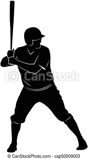 baseball player silhouette - csp50009003