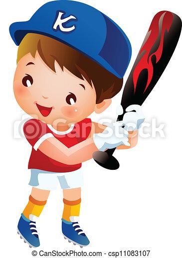 Baseball player swinging bat - csp11083107