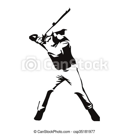 baseball player vector isolated illustration vectors illustration rh canstockphoto com female baseball player vector Flaming Baseball Vector
