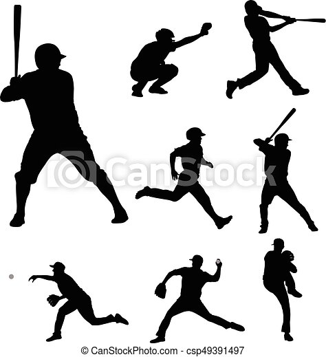 baseball silhouettes collection 2 - csp49391497