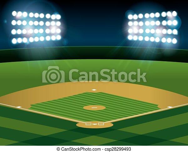 Baseball Softball Field Lit at Night - csp28299493