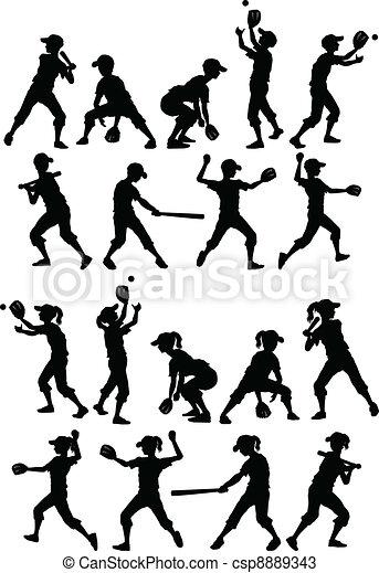 Baseball Softball Kids Silhouettes  - csp8889343