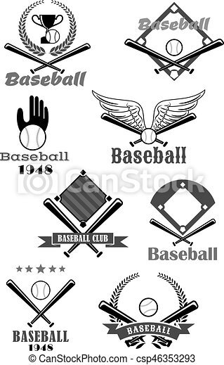 Baseball Sport Club Symbol Design With Bat Ball Baseball Sporting