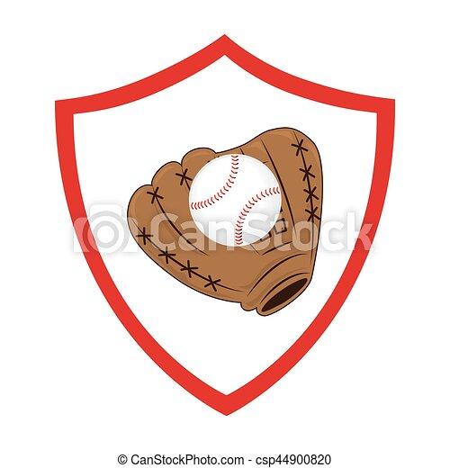 baseball sport glove emblem icon - csp44900820