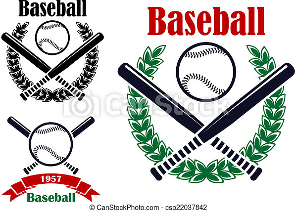 Baseball Sporting Emblems Or Symbols With Ball Bats And Laurel