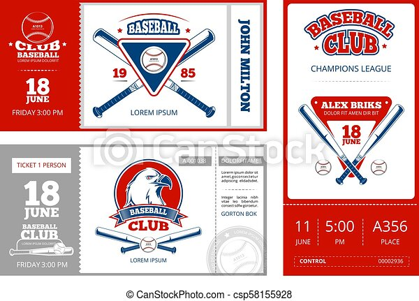 baseball sports ticket vector design with vintage baseball team