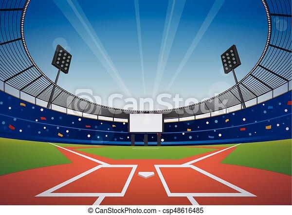 baseball stadium background baseball field with bright stadium vector illustration https www canstockphoto com baseball stadium background 48616485 html