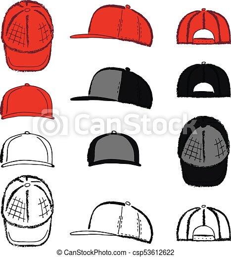 5cb6bfd1 Baseball, tennis, rap cap outlined template. Baseball, tennis, rap ...