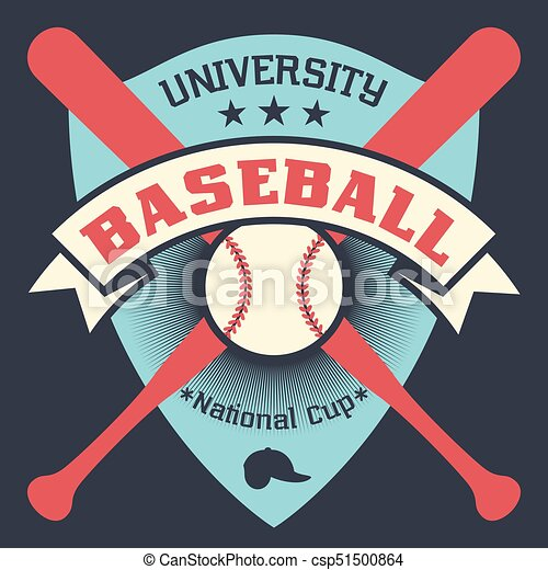Baseball Vintage Poster With Shield Stars Crossed Bats And Ball