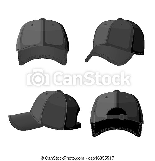 Baseball white caps in front side and back view isolated ...