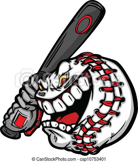 Baseball with Cartoon Face Swinging Bat Vector Image - csp10753401