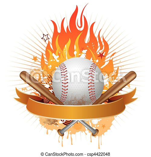 baseball with flames - csp4422048