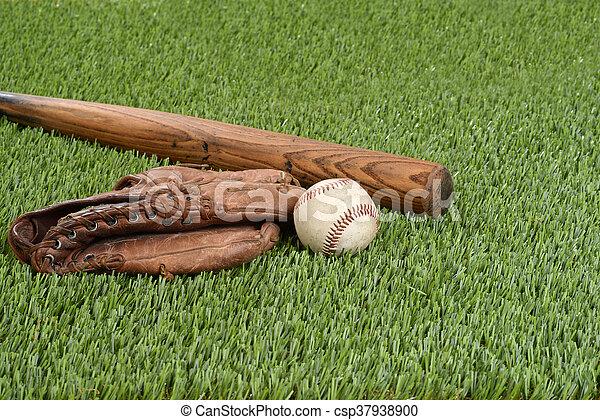 baseball with glove and bat - csp37938900