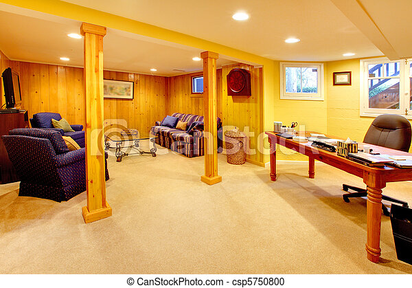 Basement family room with home office space for Design my basement online free