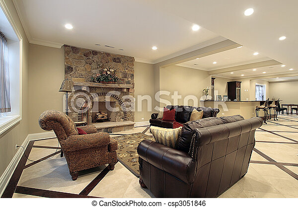 Basement in new construction home - csp3051846