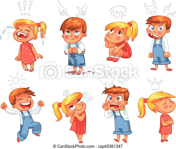 Basic emotions. Funny cartoon character - csp43361347