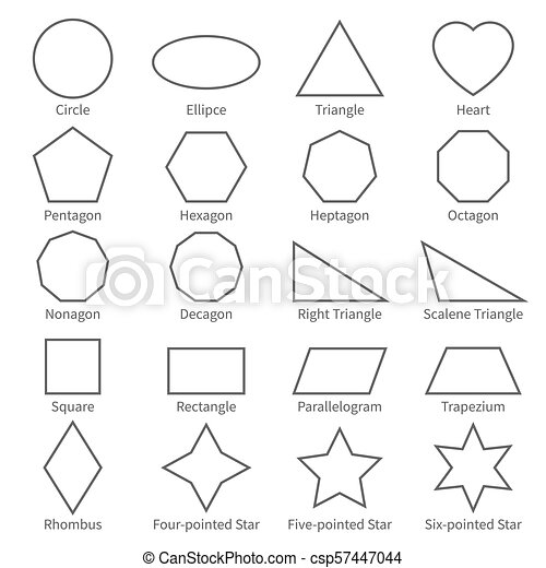 Basic geometric outline flat shapes educational geometry vector basic geometric outline flat shapes educational geometry vector diagram for kids ccuart Images