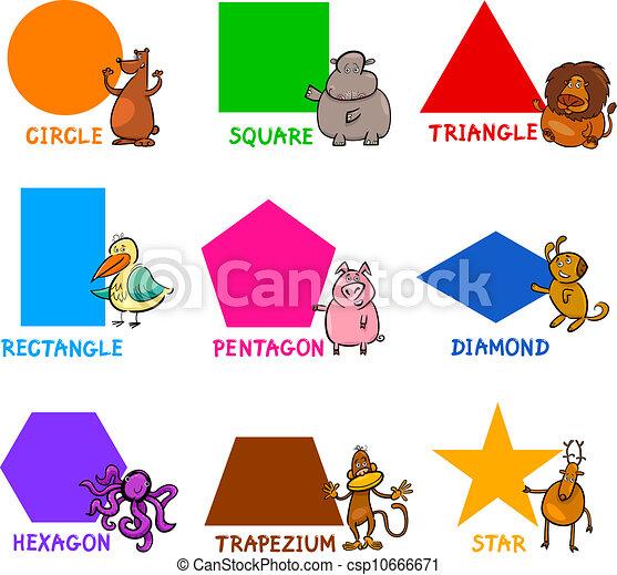 Basic Geometric Shapes with Cartoon Animals - csp10666671