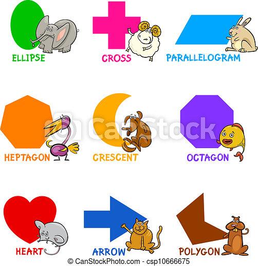 Basic Geometric Shapes with Cartoon Animals - csp10666675
