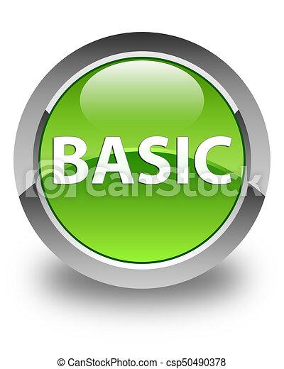 Basic glossy green round button - csp50490378