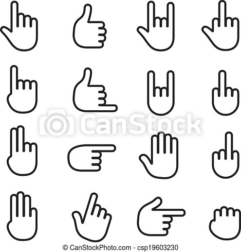 Basic human gestures icons collection - csp19603230