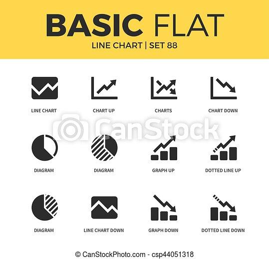 Basic set of line chart icons basic set of diagram graph down and basic set of line chart icons csp44051318 ccuart Images