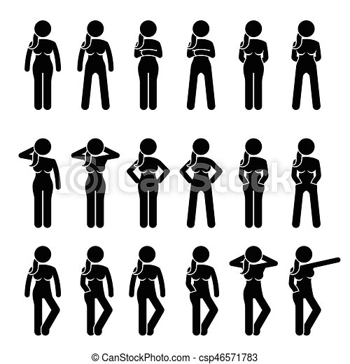 basic woman standing postures and poses artworks depict a