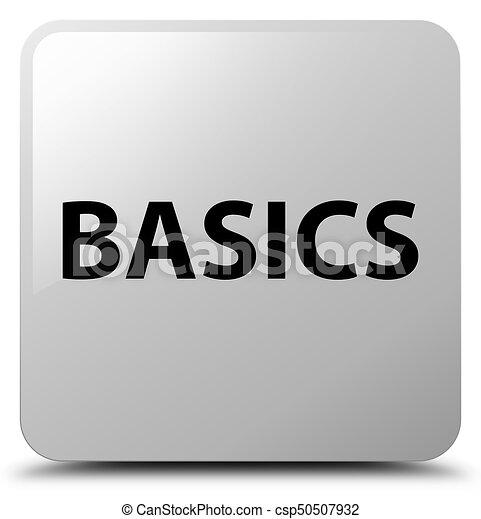 Basics white square button - csp50507932