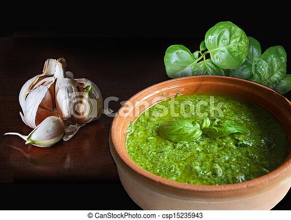 Basil garlic and pesto sauce - csp15235943