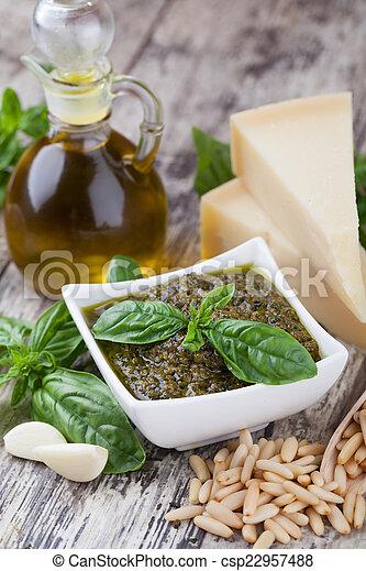 Basil pesto sauce - csp22957488