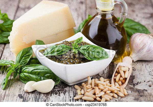 Basil pesto sauce - csp23419768